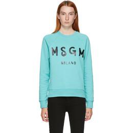 MSGM Blue Artist Logo Sweatshirt 2941MDM89 207799