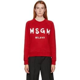 MSGM Red Artist Logo Sweatshirt 2941MDM89 207799