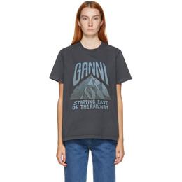 Ganni Grey Mountain Print T-Shirt T2588