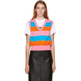 MSGM Pink and Orange Stripe Sweater Vest 2943MDW110 207635