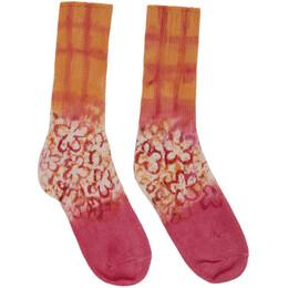 Collina Strada Pink and Orange Hand-Dyed Grid Socks XX1070