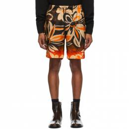 Dries Van Noten Tan and Orange Piper Shorts 20966-1065-701