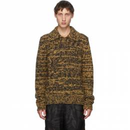 Dries Van Noten Tan and Black Open Collar Long Sleeve Polo 21219-1704-203