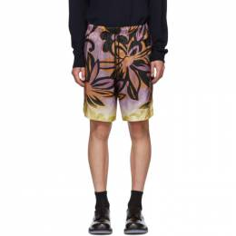 Dries Van Noten Purple and Orange Flower Drawstring Shorts 20966-1065-403
