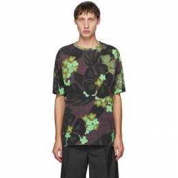 Dries Van Noten Green and Purple Flower Round Neck T-Shirt 21104-1601-977