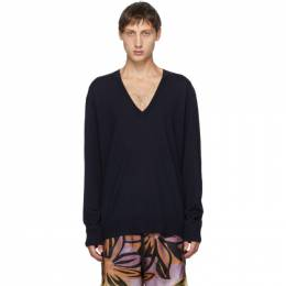 Dries Van Noten Navy Relaxed V-Neck Sweater 21209-1700-509