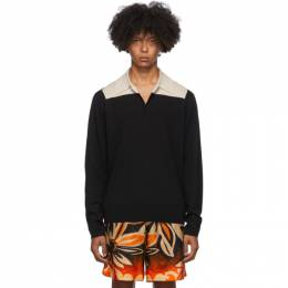 Dries Van Noten Black and Beige Block Collar Long Sleeve Polo 21218-1700-900