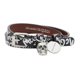 Alexander McQueen Black Allover Graffiti Wrap Bracelet 5544661XP0K
