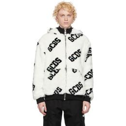 GCDS White Faux-Fur Logo Jacket FW21M040050