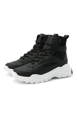 Высокие кожаные кроссовки Emporio Armani XYZ002/X0I39/35-40