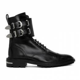 Toga Virilis Black Leather Buckle Boots FTVRM106309014