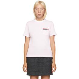 Thom Browne Pink Striped Seersucker T-Shirt FJS058A-01732