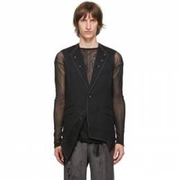 Sulvam Black Wool 3-Lapel Vest SM-V02-100
