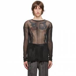 Sulvam Black Sheer Garment-Pleated T-Shirt SM-T06-700