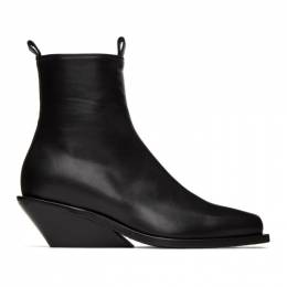 Ann Demeulemeester Black Square Toe Wedge Heel Boots 2002-2880-P-363-099