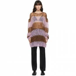 Raf Simons Pink and Brown Mohair Stripe Punk Sweater 202 835B 27WO30CO18PA