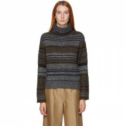See By Chloe Grey Wool and Mohair Striped Turtleneck CHS20AMP16580