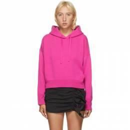 Valentino Pink Wool and Cashmere Crop Hoodie UB3KC15N5ML