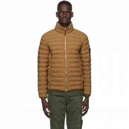 Stone Island Brown Down Loom Woven Chambers Jacket 731541025