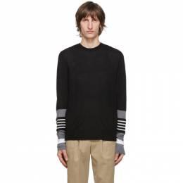 Neil Barrett Black Wool Crewneck Stripe Sweater PBMA1113B P616C