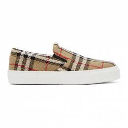 Burberry Beige Check Bio-Based Sole Latticed Slip-On Sneakers 8031506