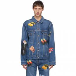 Doublet Blue Denim Hand-Painted Food Jacket 20AW18BL113
