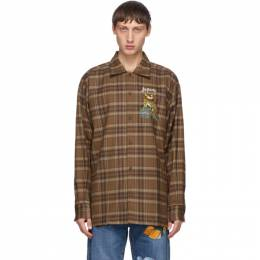 Doublet Brown Check Puppet Animal Shirt 20AW25SH85