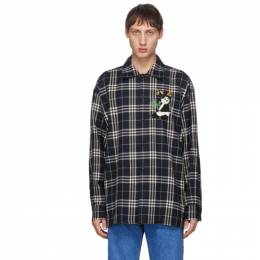 Doublet Navy Check Puppet Animal Shirt 20AW25SH85