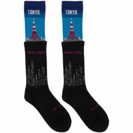 Doublet Black and Blue Time Layered Socks 20AW48SC10