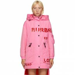 Burberry Pink Dartmouth Horseferry Print Rain Jacket 8029468