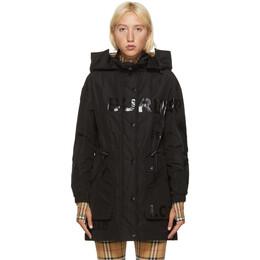 Burberry Black Dartmouth Horseferry Print Rain Jacket 8029469