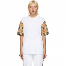 Burberry White Vintage Check Sleeve T-Shirt 8014896