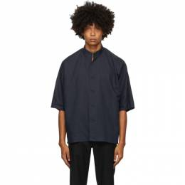 Homme Plisse Issey Miyake Navy Linen and Cotton Short Sleeve Shirt HP09FJ018