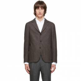 Officine Generale Navy and Brown Houndstooth Armie Blazer W20MTLG404PRE