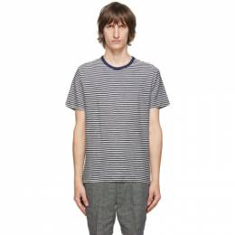 Officine Generale Navy and Off-White Striped T-Shirt W20MTEE206PRE