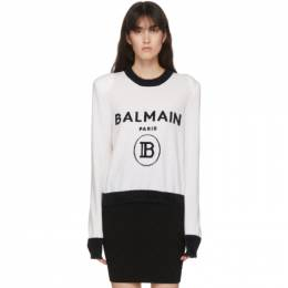 Balmain Black and White Cashmere Logo Sweater UF13122K115