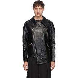 Sulvam Black Leather Grafting Riders Jacket SM-Y01-900