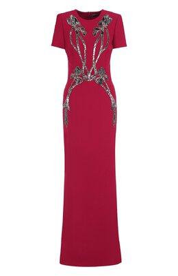Однотонное платье-макси с декоративной отделкой Alexander McQueen 530901/QLE40