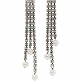 Christopher Kane Gunmetal Crystal Cupchain Pearl Earrings PF20 CJ147