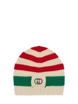Вязаная Шерстяная Шапка С Вышитым Логотипом Gucci 72IFHA016-NjU2Ng2