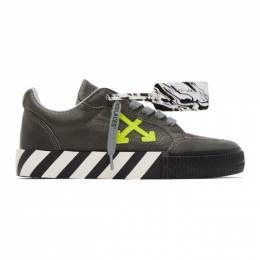 Off-White Grey Leather Vulcanized Low Sneakers OMIA085F20LEA0040970