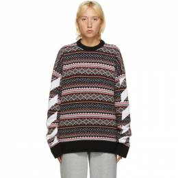 Off-White Red Fair Isle Agreement Sweater OMHE058F20KNI0012501