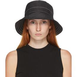 Maison Michel Black and White Topstitched Charlotte Bucket Hat 2409001001