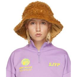 Sjyp SSENSE Exclusive Reversible Brown Hairy Hat PW1J9AHT029W