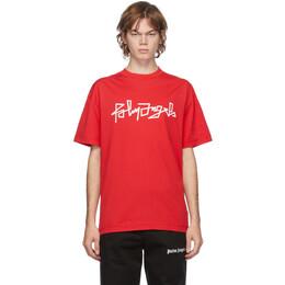 Palm Angels Red Desert Logo T-Shirt PMAA001F20JER0082501