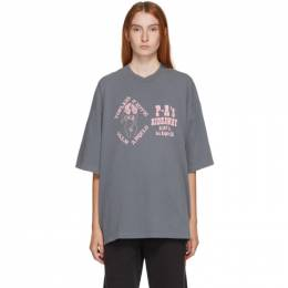 Palm Angels Grey Exotic Club Over T-Shirt PMAA059F20JER0021030