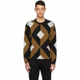 Dunhill Tan and Black Wool Engine Turn Sweater DU20FK3357M