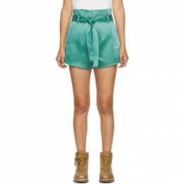 Off-White Green Satin Paperbag Shorts OWCB033E20FAB0024500
