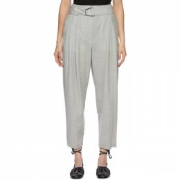 3.1 Phillip Lim Grey Wool Chambray Belted Trousers P202-5427CBR