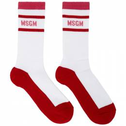 MSGM White and Red Collegiate Socks 2941MDS06 207781